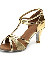 "cheap -Women's Latin Sparkling Glitter Leatherette Sandal Heel Training Buckle Paillette Chunky Heel Gold 2"" - 2 3/4"" Customizable"