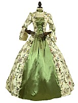 cheap -Victorian Rococo Costume Women's Adults' Dress Green Vintage Cosplay 100% Cotton 3/4-Length Sleeve Puff/Balloon