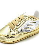 cheap -Girls' Shoes Leatherette Spring Fall Crib Shoes First Walkers Comfort Flats Magic Tape for Casual Outdoor Gold White Dark Blue