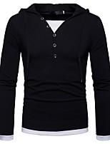cheap -Men's Long Sleeves Hoodie - Solid Colored Hooded