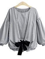 cheap -Women's Plus Size Lantern Sleeve Rayon Polyester Shirt - Striped, Bow