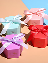 cheap -irregular Card Paper Favor Holder with Satin Bow Favor Boxes - 1pc