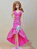 Недорогие -Платья Платья Для Кукла Барби Персиковый текстильный Эластичный сатин Платье Для Девичий игрушки куклы