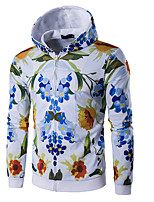 cheap -Men's Daily Floral Hooded Hoodie Regular, Long Sleeves Spring Polyester