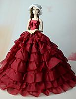 Недорогие -Платья Платья Для Кукла Барби Красный Лён/Хлопок Платье Для Девичий игрушки куклы