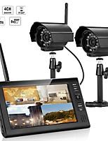 preiswerte -7 Zoll tft digitale 2.4g drahtlose Kameras Audio Video Babyphone 4ch Quad DVR Sicherheitssystem mit IR Nachtlicht zwei Kameras