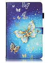 baratos -Capinha Para Samsung Galaxy Tab E 9.6 Porta-Cartão Carteira Com Suporte Estampada Auto Dormir/Despertar Capa Proteção Completa Borboleta