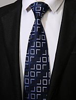 cheap -Men's Polyester Necktie, Work Casual Striped All Seasons Blue