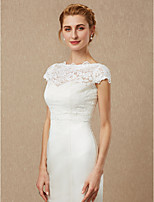 cheap -Short Sleeves Lace Wedding Party / Evening Women's Wrap With Lace Button Shrugs