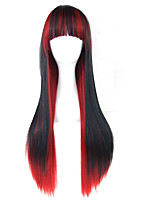 cheap -Synthetic Hair Wigs Straight With Bangs Lolita Wig 13cm(Approx5inch) Black/Red