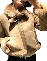 Недорогие -Жен. На выход Зима Осень Кожаные куртки Рубашечный воротник,Уличный стиль Однотонный Короткая Длинные рукава Полиуретановая