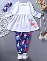 cheap -Girls' Daily Holiday Solid Animal Print Clothing Set, Cotton Spring Fall Long Sleeves Casual Active Royal Blue