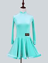 abordables -Danse latine Robes Fille Utilisation Mousseline de Soie Velours Ruché Manches Longues Robe