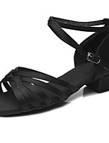 "cheap -Children's Latin Satin Sandal Heel Training Buckle Chunky Heel Black 2"" - 2 3/4"" Customizable"