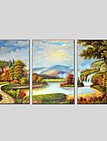 Недорогие -Ручная роспись Пейзаж Вертикальная панорама, Modern Hang-роспись маслом Украшение дома 3 панели