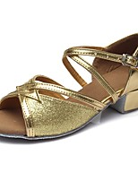 "cheap -Children's Latin Sparkling Glitter Leatherette Sandal Heel Training Buckle Chunky Heel Gold 2"" - 2 3/4"" Customizable"