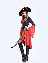 cheap -Pirates of the Caribbean Cosplay Costume Halloween Carnival Festival / Holiday Halloween Costumes Red Solid Colored