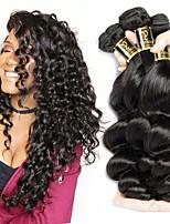 cheap -Brazilian Loose Wave Human Hair Weaves 3pcs 0.15