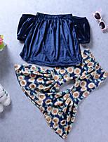 Недорогие -Девочки Набор одежды Повседневные Праздники Искусственный шёлк Однотонный Цветочный принт Очаровательный Богемный Тёмно-синий