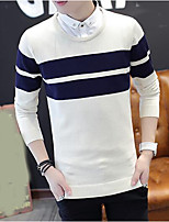 cheap -Men's Pullover - Striped, Print Round Neck