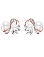 abordables -Femme Zircon Zircon Boucles d'oreille goujon - Jolie Fille Européen Or Rose Forme Géométrique Princesse Des boucles d'oreilles Pour