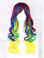 cheap -women synthetic wig capless long wavy ombre red /green/yellow with bangs cosplay lolita wig