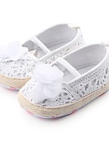 cheap -Girls' Shoes Fabric Spring Fall Crib Shoes First Walkers Comfort Flats Gore Flower for Casual Outdoor White Black Gray Red Pink