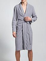 abordables -Normal Robe de chambre Pyjamas Homme, Couleur Pleine Moyen Mélange de Polyester & Coton Noir Gris Foncé Gris Clair