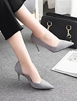 cheap -Women's Shoes Flocking Spring Fall Basic Pump Heels Stiletto Heel Pointed Toe for Casual Office & Career Black Gray Pink