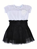 cheap -Girl's Daily Color Block Dress, Cotton Polyester Summer Short Sleeves Casual Active White