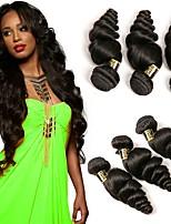 Недорогие -4 предмета Черный Свободные волны Бразильские волосы Ткет человеческих волос Наращивание волос