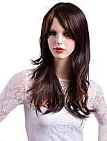 cheap -Synthetic Wig Wavy African American Wig Highlighted/Balayage Hair Asymmetrical Haircut With Bangs Capless Brown Celebrity Wig Party Wig