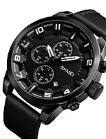 cheap -SKMEI Men's Quartz Wrist Watch Chinese Calendar / date / day Water Resistant / Water Proof Stopwatch Genuine Leather Band Luxury Casual