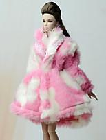 Недорогие -Плащи Пальто Для Кукла Барби Бледно-розовый Фланель Флис Пальто Для Девичий игрушки куклы