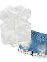 cheap -Girls' Daily Sports Solid Clothing Set, Cotton Summer Long Sleeves White