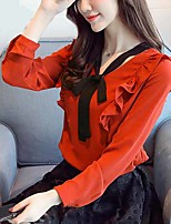 cheap -Women's Work Polyester Blouse - Solid, Bow V Neck