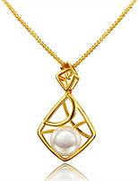 cheap -Women's Pearl Pearl Gold Plated Pendant Necklace Statement Necklace - Fashion European Geometric Necklace For Wedding Formal
