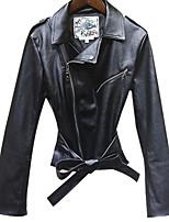 Недорогие -Жен. На выход Зима Обычная Кожаные куртки V-образный вырез, Простой Однотонный Полиуретановая