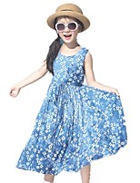 cheap -Girl's Holiday Going out Galaxy Jacquard Dress,Rayon Summer Sleeveless Cute Boho Blue