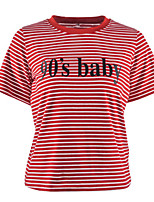cheap -Women's Daily Street chic Spring Summer T-shirt,Striped Letter Round Neck Short Sleeve Spandex