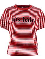 preiswerte -Damen Gestreift Buchstabe Street Schick Alltag T-shirt,Rundhalsausschnitt Frühling Sommer Kurze Ärmel Elasthan
