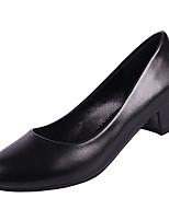 preiswerte -Damen Schuhe PU Frühling Komfort High Heels Blockabsatz Runde Zehe für Normal Weiß Schwarz