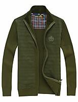 cheap -Men's Plus Size Cardigan - Solid Color, Print Shirt Collar