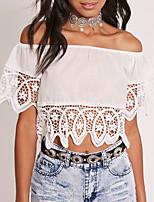 abordables -Mujer Encaje Espalda al Aire - Camiseta, Escote Barco Delgado Un Color