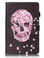 abordables -Coque Pour Samsung Galaxy Tab E 9.6 Porte Carte Portefeuille Avec Support Motif Mise en veille automatique Coque Intégrale Crânes Dur