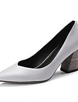 cheap -Women's Shoes Cowhide Summer Comfort Heels Chunky Heel Pointed Toe for Casual Black Gray