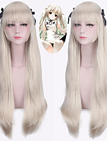 cheap -Synthetic Wig Straight Natural Hairline With Bangs Capless Blonde Halloween Wig Party Wig Lolita Wig Cosplay Wig