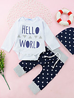 cheap -Unisex Daily Holiday Geometric Print Patchwork Clothing Set, Cotton Spring Fall Long Sleeves Casual Active White