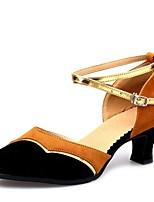 """cheap -Women's Modern Velvet Sandal Training Chunky Heel Brown Red 2"""" - 2 3/4"""" Customizable"""