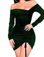 abordables -Femme Moulante Gaine Robe - Plissé, Couleur unie Col en V Mini Asymétrique